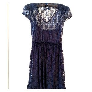 BLACK LACE DRESS by ATMOSPHERE UK SLIP LINING S-6